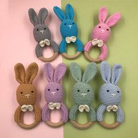 ingrosso teethers legno-Pasqua Infantile coniglio a maglia Teethers Wooden Toddler Animal bunny Soothers baby molar training C5827