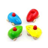 ingrosso piccoli topi-Bambino di trasporto libero Puzzle Voce di legno giocattolo piccolo bambino Legno auto topo BB auto liscia Rotonda un piccolo topo cigolante