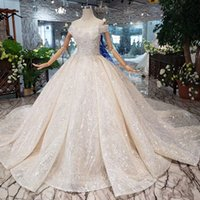 Wholesale shells training for sale - Group buy 2019 Latest Lebanon Wedding Dresses Shell Chest Short Sleeve Lace Up Back Shining Crystal Hand Made Applique Pattern Sequins Bridal Gowns