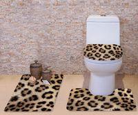 pedaços de banheiro venda por atacado-Leopardo de Grão 3D Cobertura de Vaso Sanitário Set Tapete de Flanela Banheiro Não-Slip Pedestal Tapete + Tampa de Vaso Sanitário + Tapete De Banho Conjunto lavável