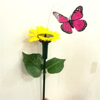 Wholesale sunflower kids toys resale online - Solar Rotating Flying Simulation sunflower Butterfly Fluttering Vibration Hummingbird Flying Garden Yard Decoration Funny Toys C6423