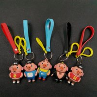 Wholesale girls gifts online - Blessing pig key chain bell couple Keychain Car Key Holder Acrylic Bell Anime Key Chain Bag Pendant Bts Accessories Girl Gift