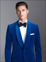 ingrosso legami migliori vestito-Abito da sposa New Ocean Blue Royal da uomo, abito da sposa New Langeur Best Dress (Jacket + Pants + Bow Tie)