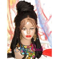Wholesale brown braiding hair resale online - Fully handtied africa american women wig braids cornrow wig black brown ombre color braided box braids Lace Front Wig with baby hair