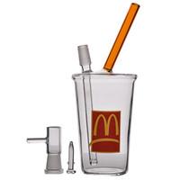 mini bardak bong toptan satış-Mini Beher Bong McDonald Kupası Fıskiye Su Bongs Kalın Cam Bongs Su Boruları Yağ Kuyuları Nargile Ile 14mm 8.1 Inç