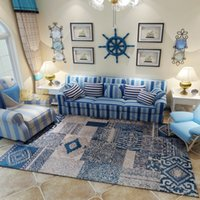 ingrosso tappeti da salotto-Stile blu Big Mat Mediterraneo Camera Sitting Room Decora Carpet