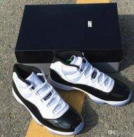 свободные настоящие баскетбольные туфли оптовых-11 Конкорд номер 45 Og баскетбольная обувь с оригинальной коробке 378037-100 реального углеродного волокна 11s Xi мужчина и женщина спортивные кроссовки бесплатная доставка
