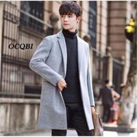 ingrosso cappotti di lana coreani di mens-Plus Siez 3XL 2018 Slim Smart Casual stile coreano lana mens cappotti cappotti moda inverno abito cappotto mens