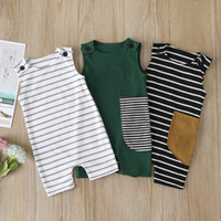 Wholesale linen newborn clothes resale online - Infant Baby Striped Rompers Toddler Boys Clothes Kids Designer Clothes Girls Casual Outfits sleevesless Romper Newborn Jumpsuits M1510