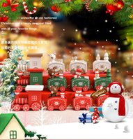 Wholesale kindergarten crafts for sale - Group buy Christmas decorations wooden trains Christmas crafts ornaments children s holiday gifts kindergarten bear Xmas kid toys gift