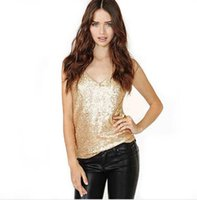 Wholesale Fashion Womens Tops Summer Sexy Lady Camis With Sequins V neck Women Clothing Colors S XL