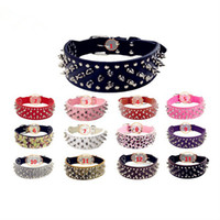 Wholesale spikes studded leather dog collar resale online - Dog Collars chain dog accessories dog carrier PU Adjustable Harness Spiked Studded Faux Leather punk rivet round nail pet supplies