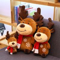 Wholesale unisex kids dolls resale online - 20cm Plush Christmas Deer Dolls for Kids Cute Deer Plush Toys Stuffed Animals Soft Toys with Scarf Chidren Xmas Gift