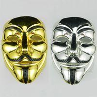ko großhandel-PVC Halloween V Wort Galvanik Unisex Maske Cosplay Kostüm Filmstars Party Bühne Maske