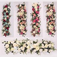 çiçek zemin düğün toptan satış-100X25 cm Uzun Yapay kemer ile çiçek satır masa Çiçek Ipek Çiçek Köpük çerçeve koşucu merkezinde Düğün dekoratif zemin
