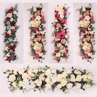 mesa de flores artificial al por mayor-Flor de seda artificial Rosequeen 100X25cm largo del arco de flores fila de la tabla de la flor con marco de espuma Telón de fondo corredor central de la boda decorativo