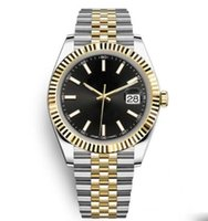 Wholesale sale stainless bracelets resale online - Hot Sale Free SHIP Two Tone Stainless Steel Date Solid Bracelet Sapphire Black Dial mm Man Datejust Wristwatch Sports Mens Watches