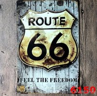Wholesale route 66 retro resale online - Vintage Metal Tin Signs For Wall Decor Route Iron Paintings cm Metal Signs Tin Plate Pub Bar Garage Retro Home Decoration