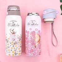 bebek ayı şişesi toptan satış-Ücretsiz kargo geyik ayı sincap tilki desen paslanmaz çelik bebek su şişesi süt şişesi besleme aracı spor stil su bardağı
