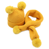 Wholesale cashmere hats for kids resale online - Autumn Winter Knitted Baby Hat Scarf Sets For Kids to Years Old Warm Cute Fur Balls Solid Children Caps Scarves New Arrival