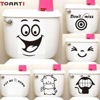 büyük çizgi film çıkartmaları toptan satış-Büyük Gülümseme Yüz Karikatür Klozet Sticker Diy Duvar Çıkartmaları Ev Dekor Duvar Sanatı Resimleri Su Geçirmez Yapıştırıcı Komik Washroom Dekor