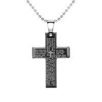 ingrosso ciondolo croce in titanio nero-2019 nuovi modelli di moda nero titanio acciaio Bibbia preghiera croce collana Gesù titanio gioielli ciondolo in acciaio
