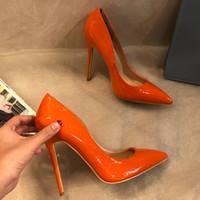 bombas de salto baixo laranja venda por atacado-Frete grátis moda feminina Designer de Marca Nova orange leather point dedo do pé de salto alto bombas de sapatos Stiletto 33-43 cm 12 cm 10 cm Casual sapato