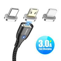 cable magnético usb tipo c al por mayor-FLOVEME Cable magnético Micro USB tipo C para iPhone Cable de iluminación 1M 3A Tipo de cable de cargador de cable de carga de imán de cable de carga rápida