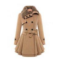 manteaux d'hiver col de fourrure achat en gros de-Col de fourrure manteau d'hiver femmes laine mélangés manteaux haute qualité à double boutonnage manteau chaud manteau long trench des femmes
