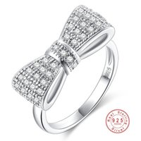 anel de gravata de prata venda por atacado-2019 Moda 925 Sterling Silver Requintado Moda Bow Tie Anel De Noivado De Casamento Feito Com Zircônia Cúbica Para As Mulheres de Jóias