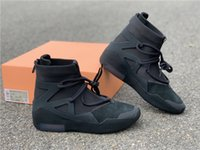 Wholesale best running shoes resale online - Air Fear Of God FOG String Oatmeal Triple Black Yellow Sail Frosted Spruce Mens Boots Running Sneakers Shoes Luxury Designers Best Quality