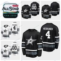 dallas jersey preto venda por atacado-2019 All-Stars Game Dallas Stars Estrelas Miro Heiskanen costurado Jerseys Homens Black White Personalizar All-Star # 4 Miro Heiskanen Hockey Jerseys