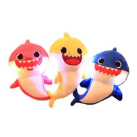 ingrosso nuove bambole-3 colori 30cm (11.8inch) Luminous Baby squalo Peluche con musica Cute Animal toy 2019 New Baby Shark Dolls Singing English Song B