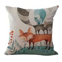 funda de zorro almohada al por mayor-Funda de almohada con diseño de dibujos animados de Animal Square de Lovely Square Fox Fundas Cojín 18x18 pulgadas