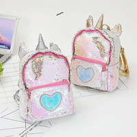 Wholesale leather satchel book bags for sale - Group buy New Sequins Unicorn Backpack Women PU Leather Mini Travel Soft Bag Fashion SchoolBag For Teenager Student Girls Book Bag Satchel