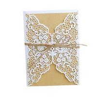 gelin davet kağıtları toptan satış-10 Adet Lazer Kesim Düğün Lazer hollow Davetiyeleri Kartları Batı Düğün Gelin Duş Hediye Tebrik Kartı Parti Dekoru