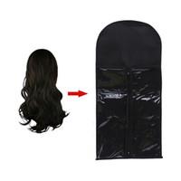 ingrosso appendiabiti portatile-1PC Hair Wig Extension Carrier Capelli Beauty Bag antipolvere durevole Zipper portatile donne non tessute Suit Bag Suit Wig Hanger