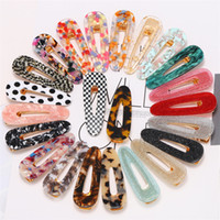 Wholesale crochet pins for sale - Group buy Girls hair barrettes colors Waterdrop Acrylic Triangle Hairclip Vintage Girl Women hair clips Geometric Snap Barrette hair pins JY860