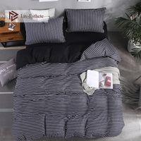 Wholesale pink striped bedding sets resale online - Liv Esthete New Striped Bedding Set Double Queen King Bed Linen Soft Duvet Cover Flat Sheet Pillowcase For Adult