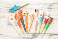 Wholesale wood pen animals for sale - Group buy Flamingo wood pens Creative wood carving animal pen hot selling craft gift pens neutral pen manual wood carving pen