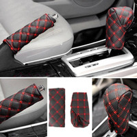 кожаные чехлы оптовых-2Pcs/Set Faux Leather Hand Brake Cover Shift Knob Cover Anti-slip Gear Case Car Interior Decor Auto Car Accessories