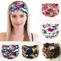 Wholesale big flower hair band girl resale online - Wide Headband women big girls Knot Headbands sports Yoga Hair Band Floral print Turban Bandage On Head For Women colors C6642