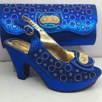 bolsa maravillosa al por mayor-Maravillosos zapatos de tacón alto de color azul real y bolso de noche con pedrería para la fiesta GY33, altura del tacón 8 cm