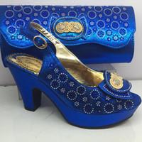 чудесный мешок оптовых-Wonderful royal blue high heel shoes and evening bag set with rhinestones for party GY33, heel height 8cm