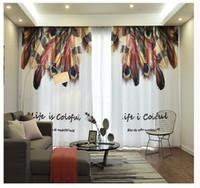 cortinas duplas para sala de estar venda por atacado-Cortinas de renda de penas Semitransparente fio de luz cortina dupla Sala Cortina Flutuante Nórdico Quarto Pastoral Estilo Cortina Pano