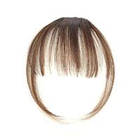 человеческие волосы бахромы темно-коричневый оптовых-Девушка с воздушной бахромой, челка с волосами на виске. Женские передние аккуратные чёлки с клипсой. Комплект для наращивания волос W7789-1.