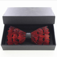 Wholesale tuxedo unique for sale - Group buy With Box Unique Party Necktie Red Peacock Feather Bow Tie For Man High Quality Men s Tuxedo Dress Vintage Bow tie
