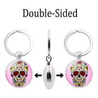 Wholesale small stainless steel carabiner online - Cross border new accessories Shantou Time Gem Double sided Glass Dome Alloy Keychain Fashion Multi function Pendant Small Gifts