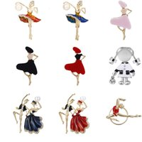Wholesale ballerina pin for sale - Group buy New Ballet Dancer Crystal Brooches Enamel Lapel Pin Dress Badge Cartoon Beautiful Princess Ballerina Jewelry for Women Girl Gift