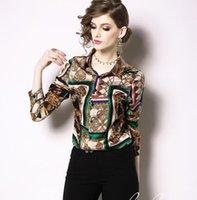 blusas marrones para mujer al por mayor-Bufanda con cadena impresa de manga larga blusas de las mujeres marrones con camisas de verano de un solo pecho solapa cuello moda señoras camisas